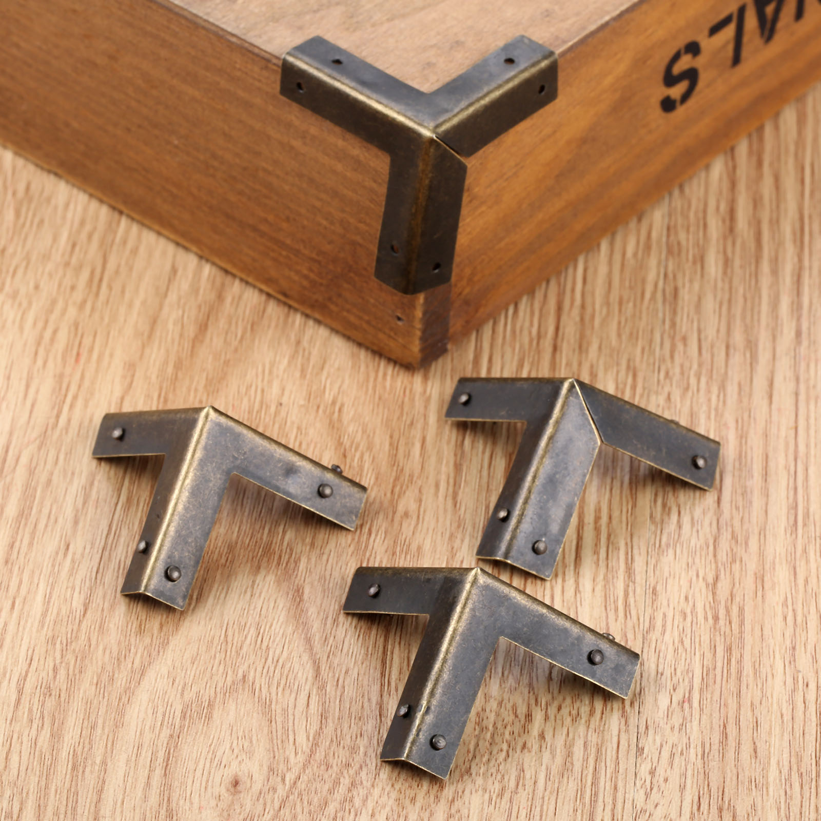 4pcs Silver Furniture Feet Wood Box Zinc Alloy Corner Protectors Kit With Screws