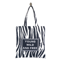Zebra Stripes Printed Canvas Tote Female Casual Beach Bag Large Capacity Women Single Shopping Bag Daily