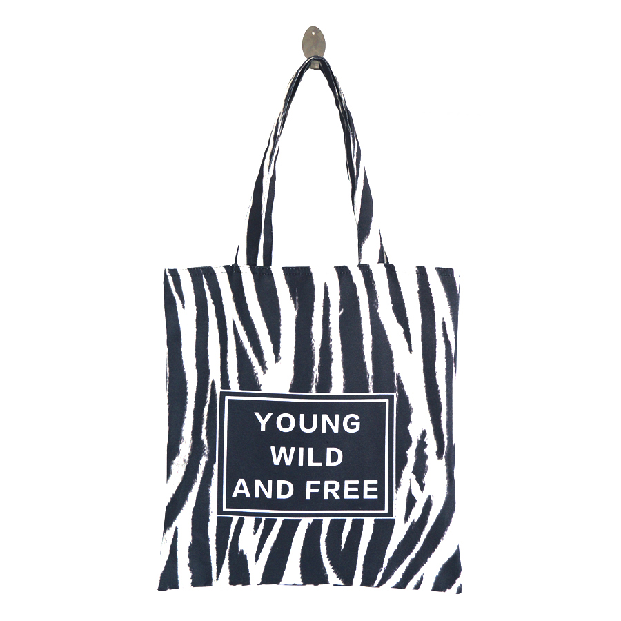 Zebra Stripes Printed Canvas Tote Female Casual Beach Bag Large Capacity Women Single Shopping Bag Daily Use Canvas Handbags forudesigns casual women handbags peacock feather printed shopping bag large capacity ladies handbags vintage bolsa feminina