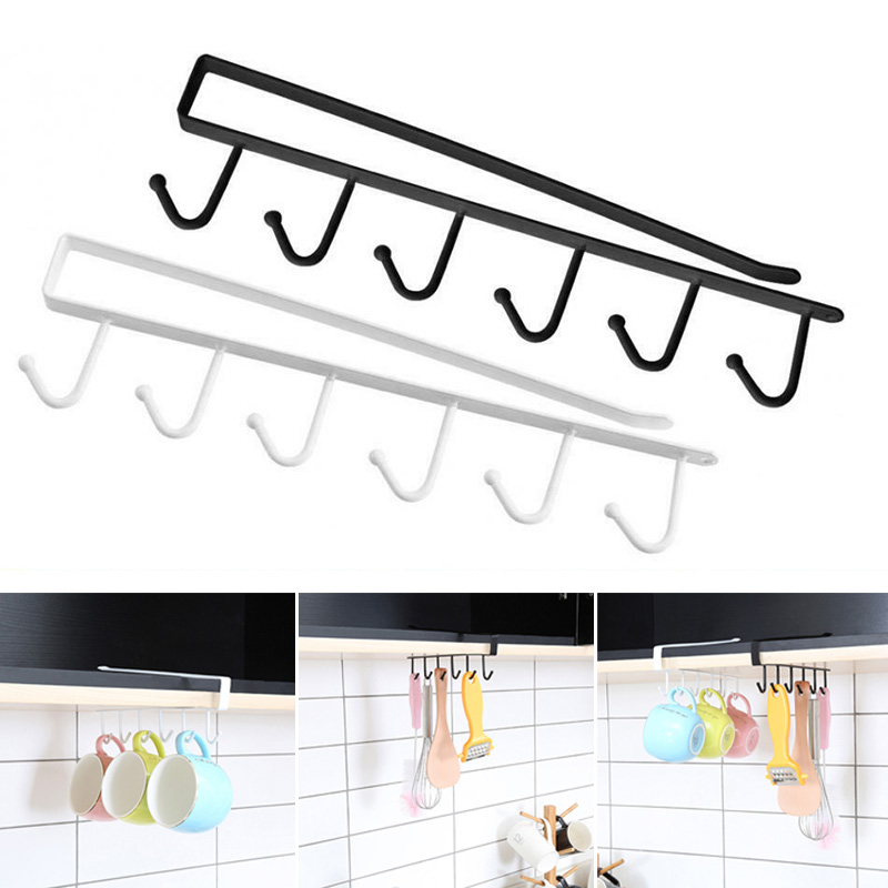 Under Cabinet Hanger Rack 6 Hooks Kitchen Cupboard Storage Cupboard Shelf Hook TN99