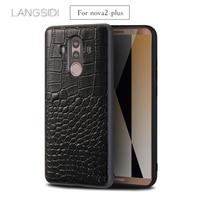 wangcangli For Huawei Nova2 Plus phone case Premium Handmade Luxury genuine crocodile leather case
