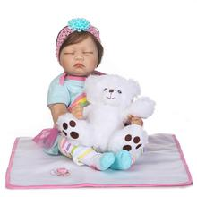 55cm Soft Silicone Reborn Sleeping Babies Dolls Toy 20inch Newborn Princess Girl Baby Doll With Bear Lovely Birthday Gift