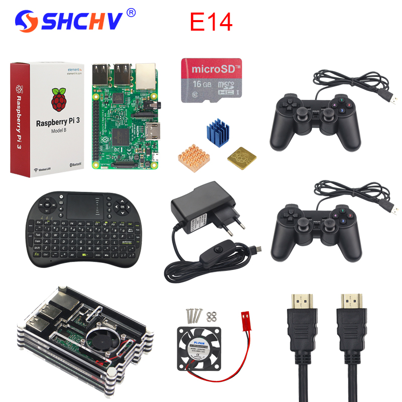 Raspberry Pi 3 Game Kit + 16G SD Card + Wireless Keyboard + 2 Game Controller +Acrylic Case + Fan + Heat Sink +HDMI Cable +Power