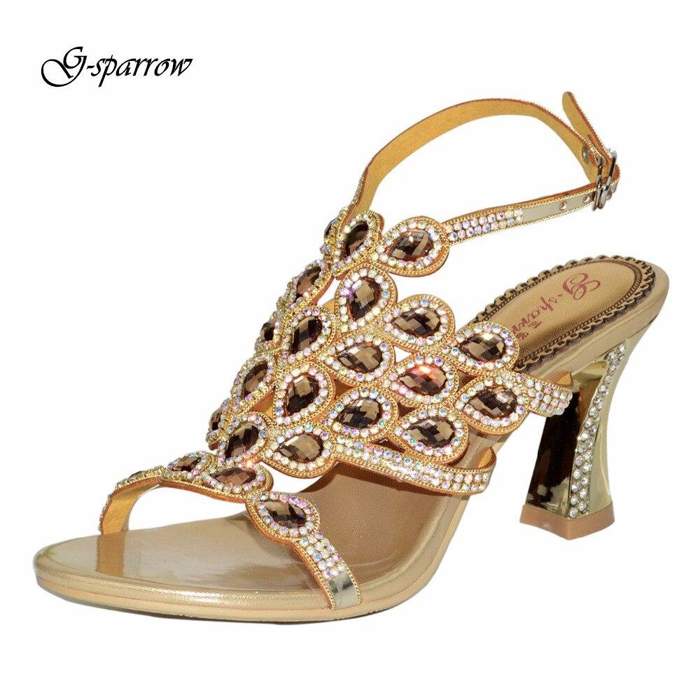 G-sparrow 2016 Women High Heels Rhinestone Ankle Strap Sandals Square Heel Sexy Pumps Women Wedding Bridal Shoe Large Size 35-44