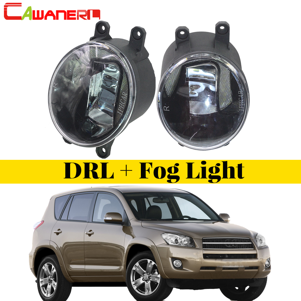 Cawanerl Car Styling LED Lamp Fog Light Daytime Running Light DRL White 12V For Toyota RAV4 2006 2007 2008 2009 2010 2011 2012 car flashing 2pcs drl for bmw x5 e70 2007 2008 2009 2010 daytime running lights daylight car led fog head lamp light cover