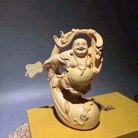 TNUKK Maitreya boxwood carving Buddha Buddha statues Home Furnishing feng shui office new car ornaments handmade gifts.