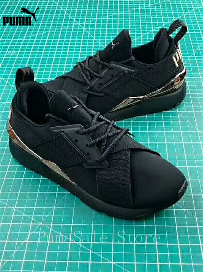 7ba2f52e35 US $77.0 17% OFF|PUMA Muse Satin EP Womens Sneakers 367047 01 Women Sports  Outdoor Badminton Shoes Black Pink WN's Mid Top Sneakers Size 35 39-in ...