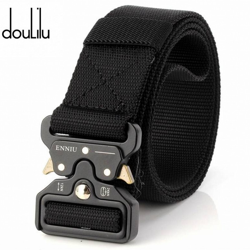 Military Equipment Army Belt Men Outdoor Sport Tactical Canvas Belts For Jeans Pants Casual Elastic Nylon Black Long Waist Belt