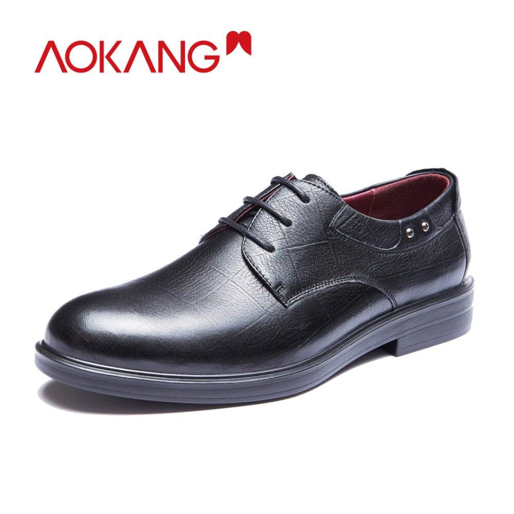 AOKANG nouveauté hommes robe chaussures en cuir véritable hommes chaussures marque chaussures hommes brogue chaussures de haute qualité livraison gratuite 193211002