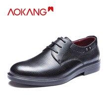 AOKANG جديد وصول الرجال فستان أحذية جلد أصلي للرجال أحذية ماركة أحذية الرجال البروغ أحذية عالية الجودة شحن مجاني 193211002