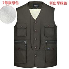 men Multi-pocket Plus Size S-4XL Man Lambs wool lining Vest Jacket Autumn&Winter Warm Thicken Gilet  vest