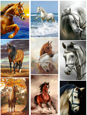 Full Drill circular Diamond 5D DIY Painting quot snow two horse quot Embroidery Cross Stitch Rhinestone Painting in Diamond Painting Cross Stitch from Home amp Garden