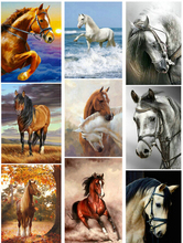 Full Drill circular Diamond 5D DIY  Paintingsnow two horse Embroidery Cross Stitch Rhinestone Painting