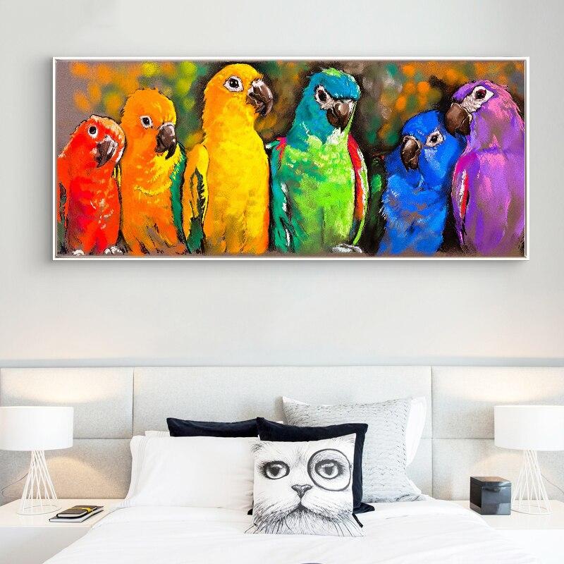Quadros em tela de papagaios coloridos para sala de estar quadros e posters decorativos arte animal cuadros
