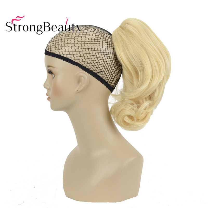 StrongBeauty 12 Inches 10% Synthetic 90% Human Hair Short Curly Ponytail Clip In Hair Extensions With Claw Clip(China)