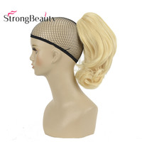 StrongBeauty 12 Inches 10% Synthetic 90% Human Hair Short Curly Ponytail Clip In Hair Extensions With Claw Clip