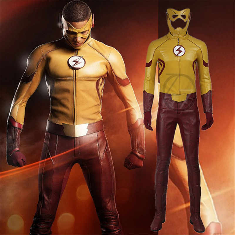 Bambini Flash Cosplay Costume Il Flash Stagione 3 Wally West Cosplay Vestiti di Halloween Superhero Outfit Vestito per Gli Uomini Custom Made