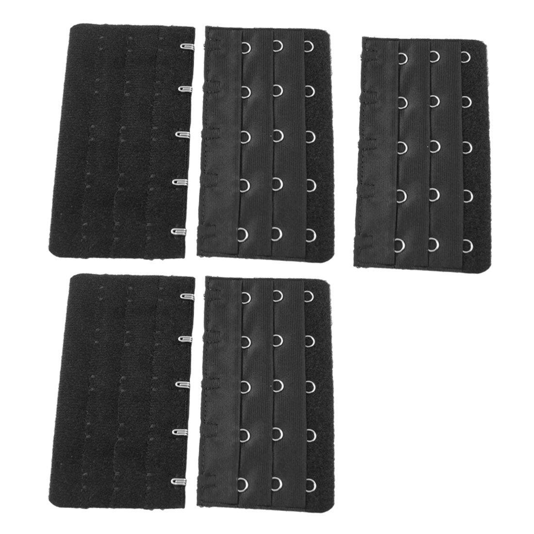 KSFS Black 5 Rows Hook and Eye Tape Extension Bra Strap Extender 5 Pcs for Women