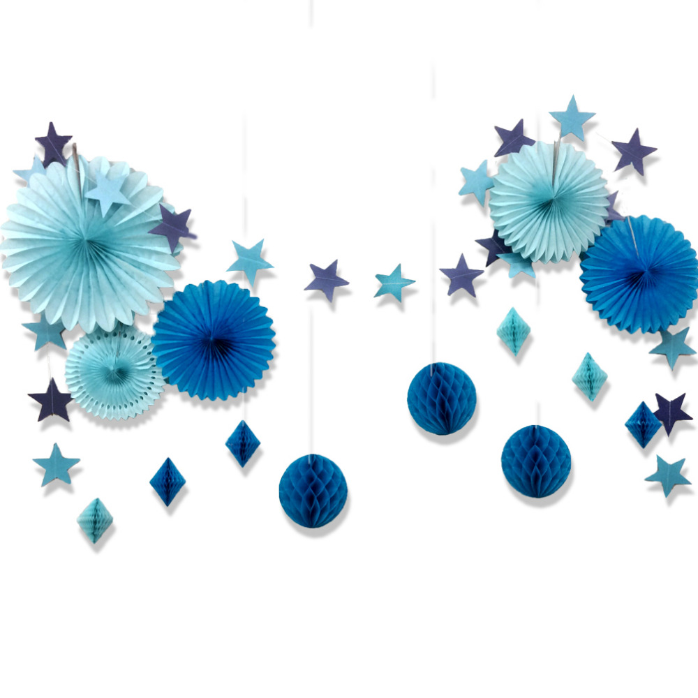 Set of 15 Blue (Pink) Star Paper Garland Honeycomb Balls Tissue Paper Fans for Birthday Baby Shower Bridal Shower New Year Decor