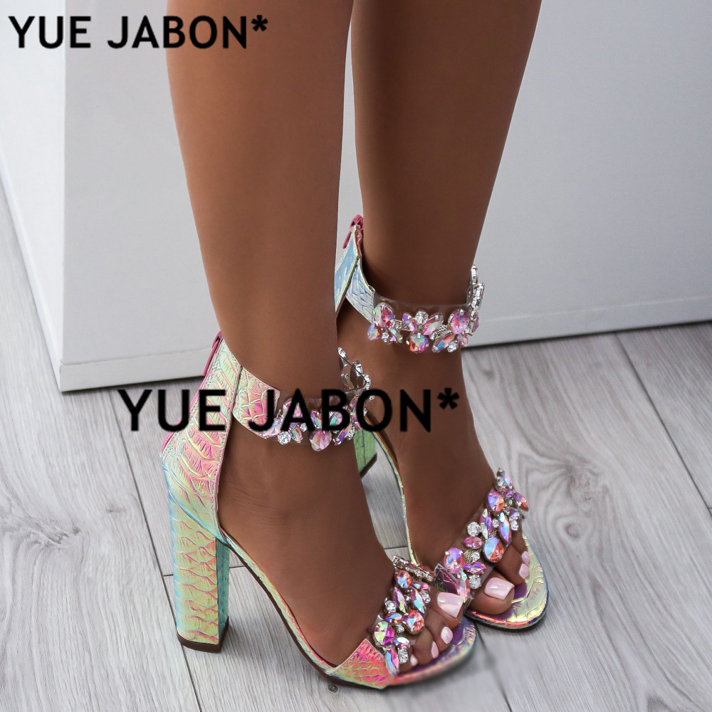Women Heeled Sandals Big Rhinestone Ankle Strap Pumps Square Heels Lady Shoes Elegant Party Shoes Women