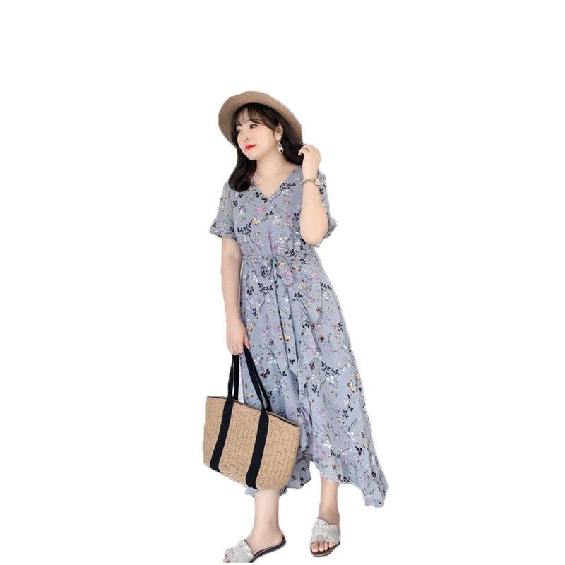 boho Summer Elegant Long women Dress 2018 vestidos chiffon Floral printing Party Dress Clothes for Pregnant plus size 4XL 5XL