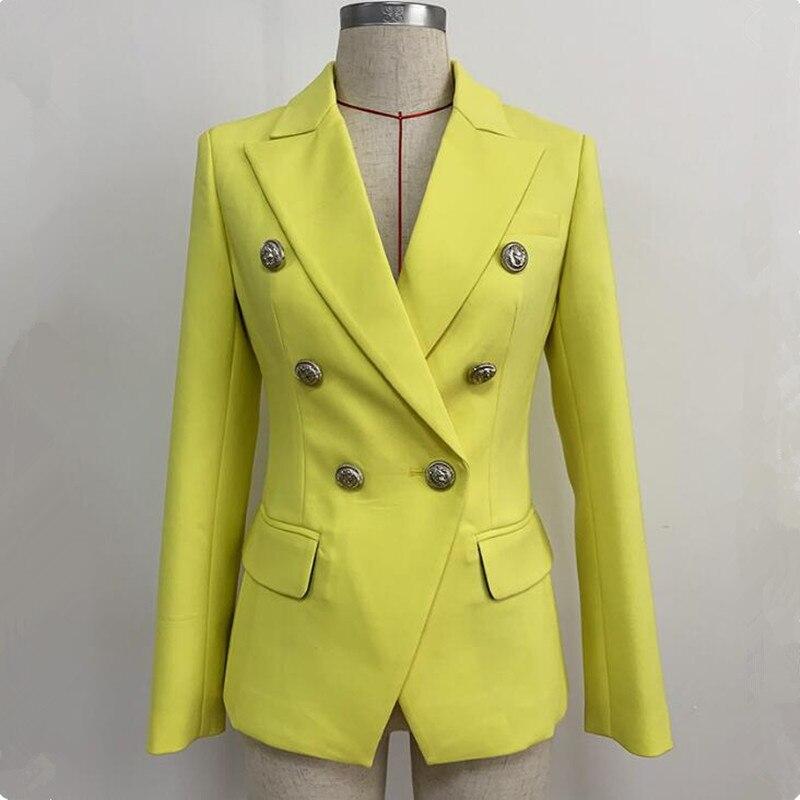 Blazer Jacket Women Elegant Vintage Cotton Slim Casacas Para Mujer 2020 Yellow Blazer American Coat Suit Jacket Long Sleeve Top