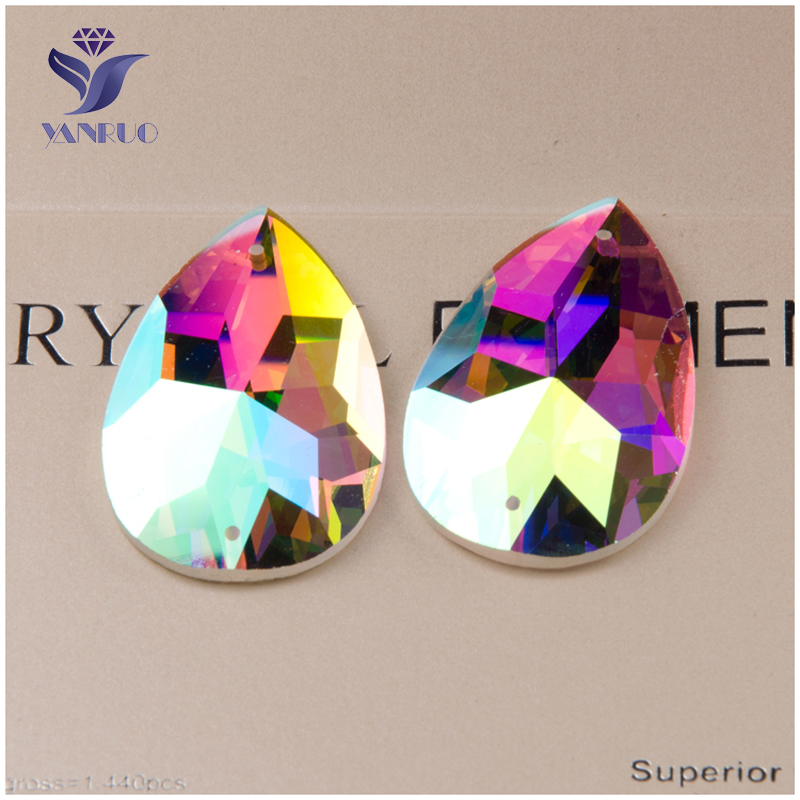 YANRUO #2154TH AB Super Shiny Crystal Stones Flatback Drop Sew On Strass Rhinestone Beads For Clothes Craft Decoration