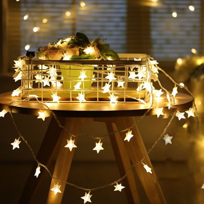 Cordão de luzes de led estrelas, à prova dágua para o natal e casamento, 1.5m 3m 6m 10m decoração de casa interna branca quente