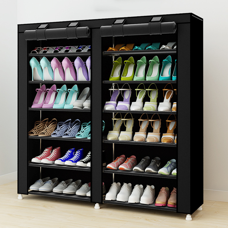 Double row Shoe cabinet Non-woven fabrics Steel Pipe Large shoe rack organizer removable shoe storage for home furniture Shoebox 12 grid diy assemble folding cloth non woven shoe cabinet furniture storage home shelf for living room doorway shoe rack