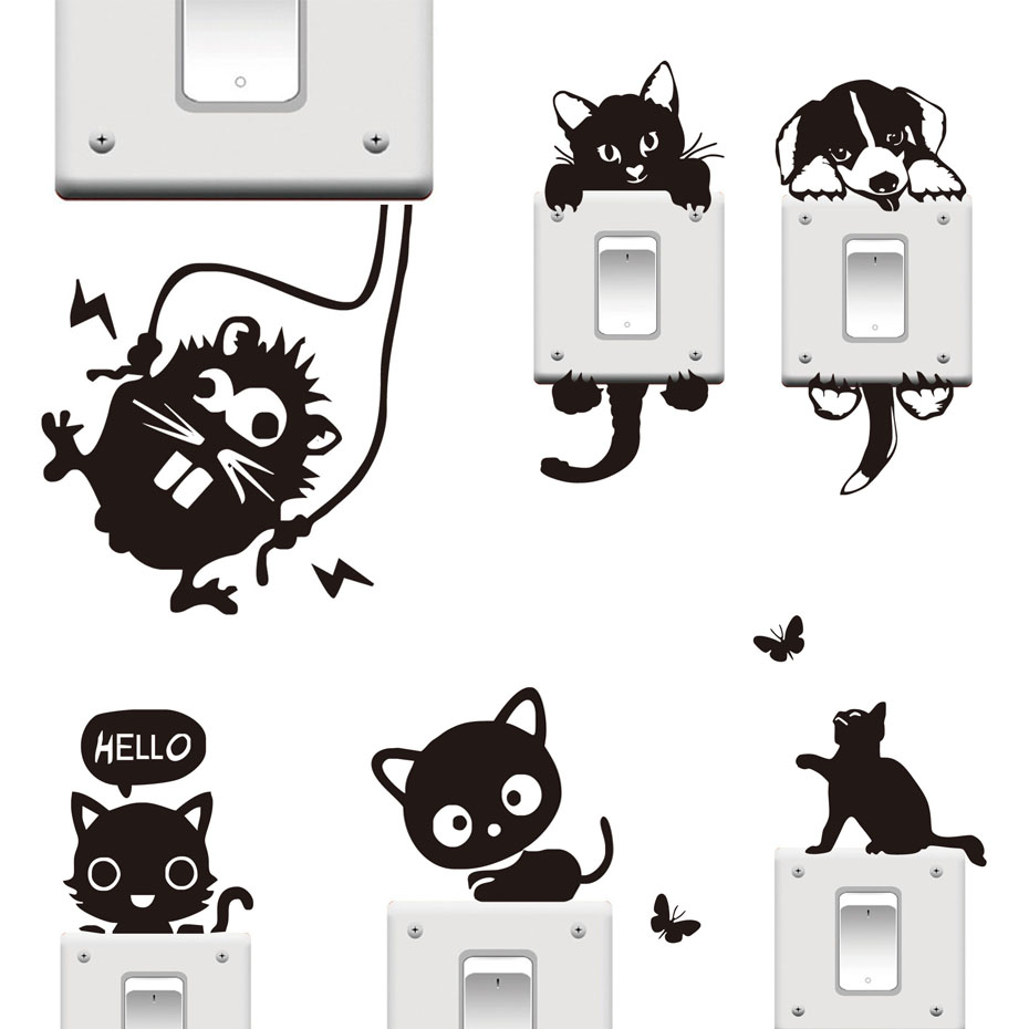 DCTOP 20 Styles Funny Cute Cat Dog Black Switch Stickers DIY Cartoon Animal Wall Home Decoration Bedroom