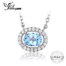 Jewelrypalace solitario 1ct redonda natural topacio azul plata de ley 925 colgante de collar de 45 cm de la cadena de joyería fina para las mujeres