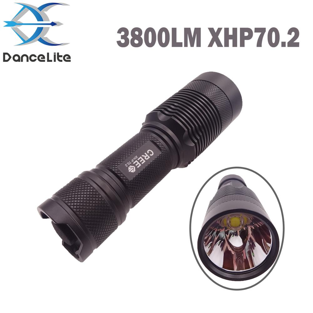 3800LM DanceLite C8 2 Outdoor Flashlight XHP70 2 Super Bright LED Torch Lantern for Hunting Camping