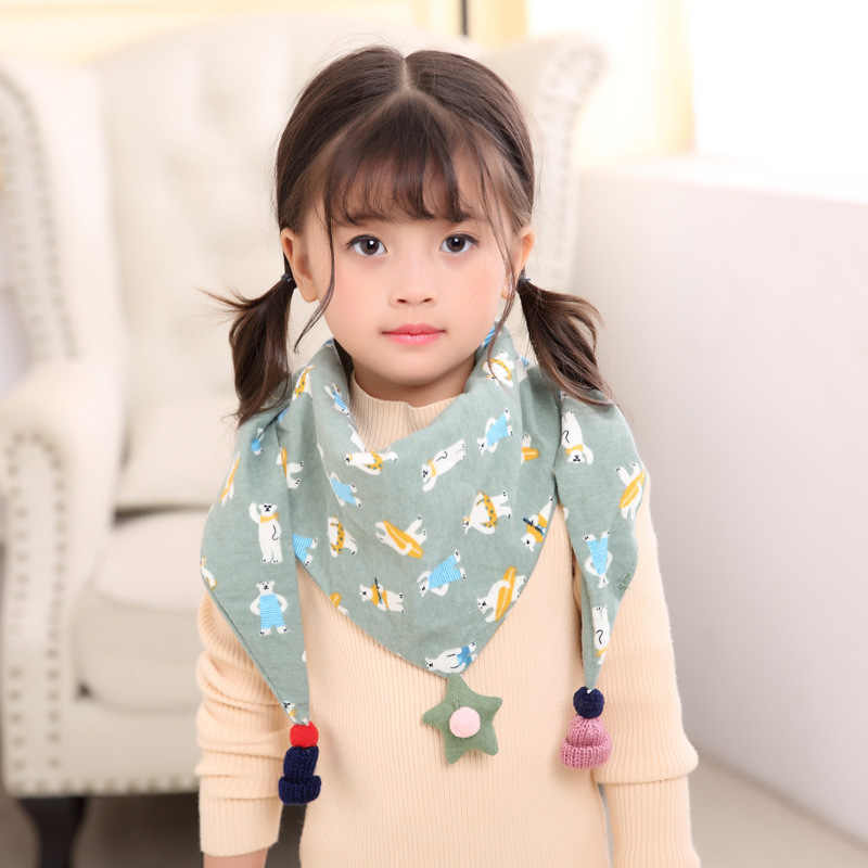 Children Girls Boy/'s Sacarf Hijab Triangular Cotton Scarf Hanging Drop Basic