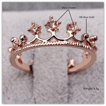 Princess Crown Ring Trendy Jewelry Gold Wedding Engagement Ring For Women 3