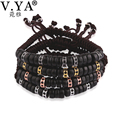 V YA Unique Watch Bracelets Men Luxury Micro Pave Crystal Zircon Bead Bracelet Women Wood Round Beads Bangle
