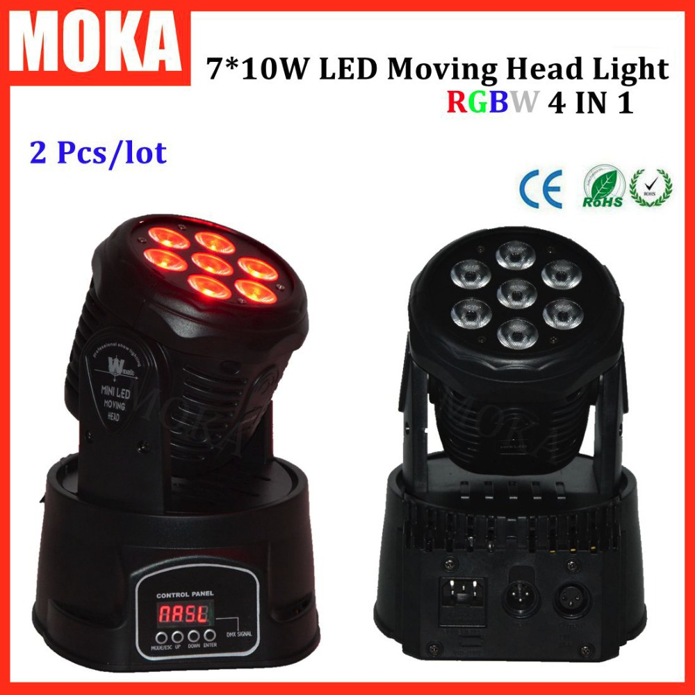 2 Pcs/lot  mini moving head light rgbw 4 in 1 led wall light fixture cree party lights dmx512 sound control 6pcs lot good quality 7 12w mini rgbw led moving head light laser christmas party lights 12 months warranty