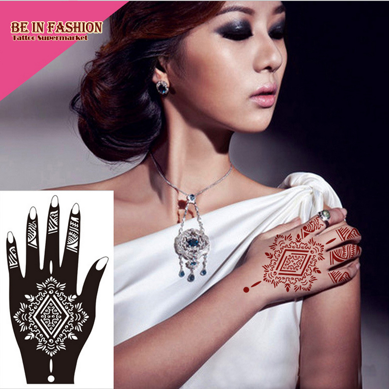 Professional Big Diy Tool Henna Glitter Temporary Tattoo Stencil Lace Rose Lotus Flower Women Body Hand Paint Templates S103L/R