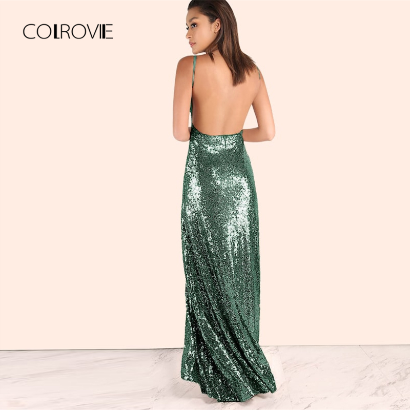 COLROVIE Green Solid V Neck Backless Winter Sequin Long Party Maxi Dress  Women 2018 Sleeveless Zip Vestido Slim Cami Sexy Dress-in Dresses from  Women s ... ed008ee20d34