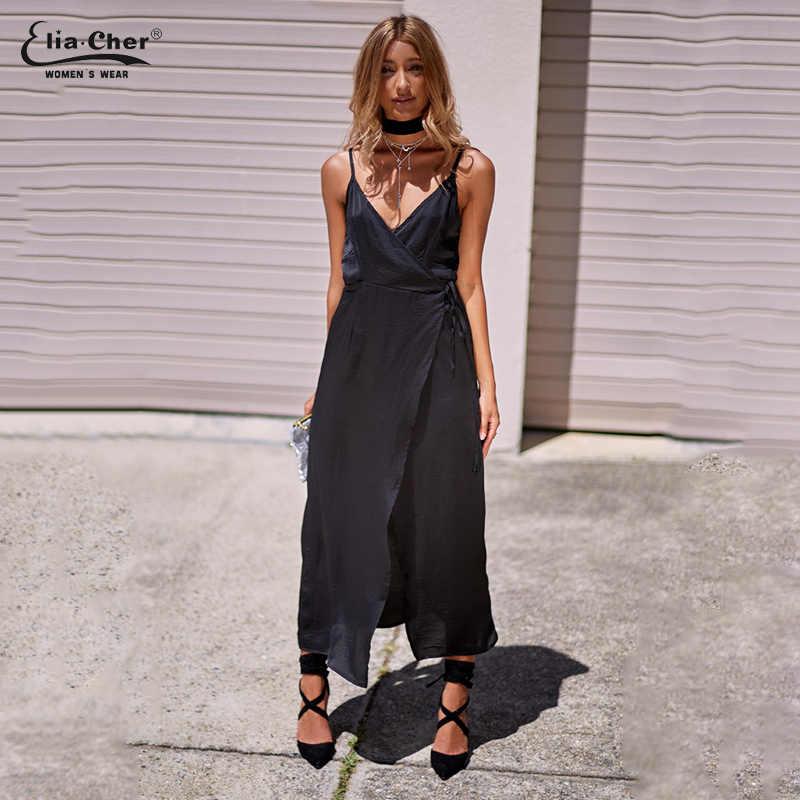 Новое Женское платье цвета хаки на тонких бретельках, шелковое платье Eliacher, Брендовое Повседневное платье большого размера, свободное платье с v-образным вырезом, Платье макси с поясом, Vestido 8701