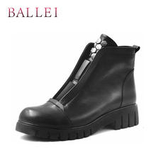 BALLEI Warm Winter Woman Snow Boots High Quality Vintage Short Plush Shoes Classic Round Toe Soft Square Heels Casual B10