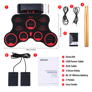 ammoon Electronic Drum Set Digital Roll-Up MIDI Drum Kit 9 Silicon Durm Pads Built-in Stereo Speakers Battery with 2 Foot Pedals(China)