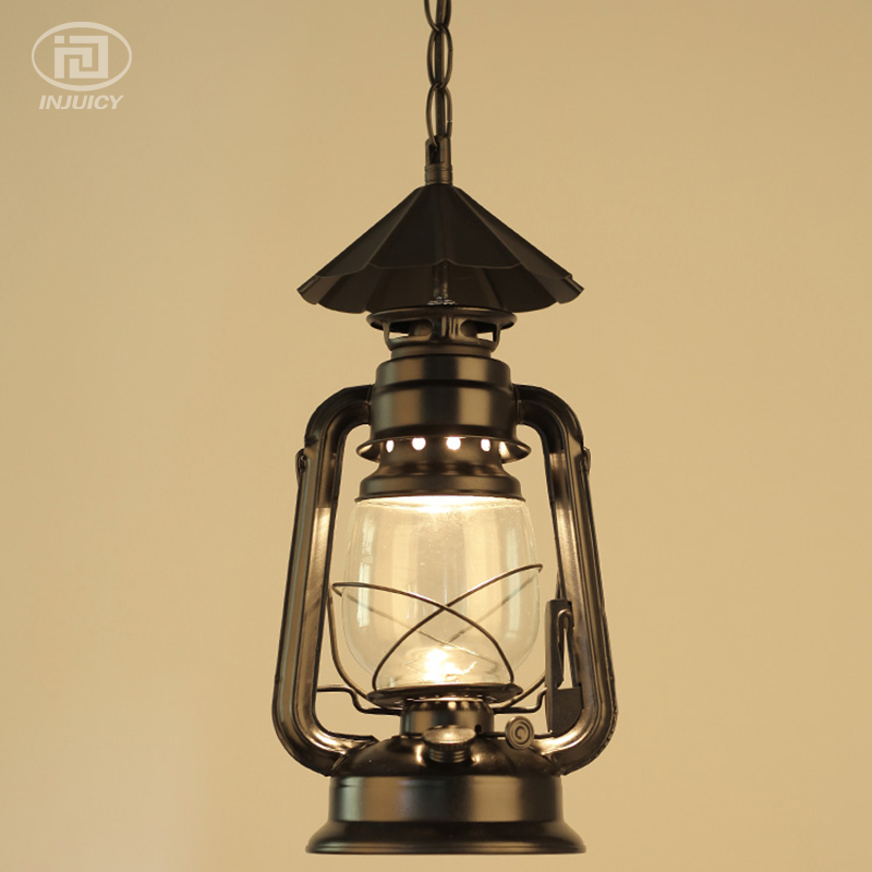 Vintage Loft Lantern Kerosene Hanging Lamps Iron Glass Ceiling Lamp Industrial Pendant Lights Cafe Bar Hall Restaurant Store vintage iron pendant light loft industrial lighting glass guard design cage pendant lamp hanging lights e27 bar cafe restaurant