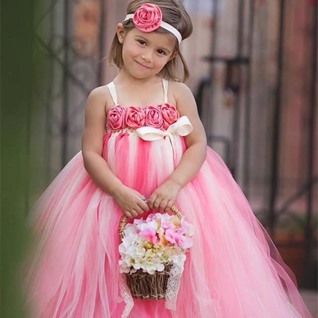 Caliente de color rosa y marfil niña de las flores vestido con venda ...
