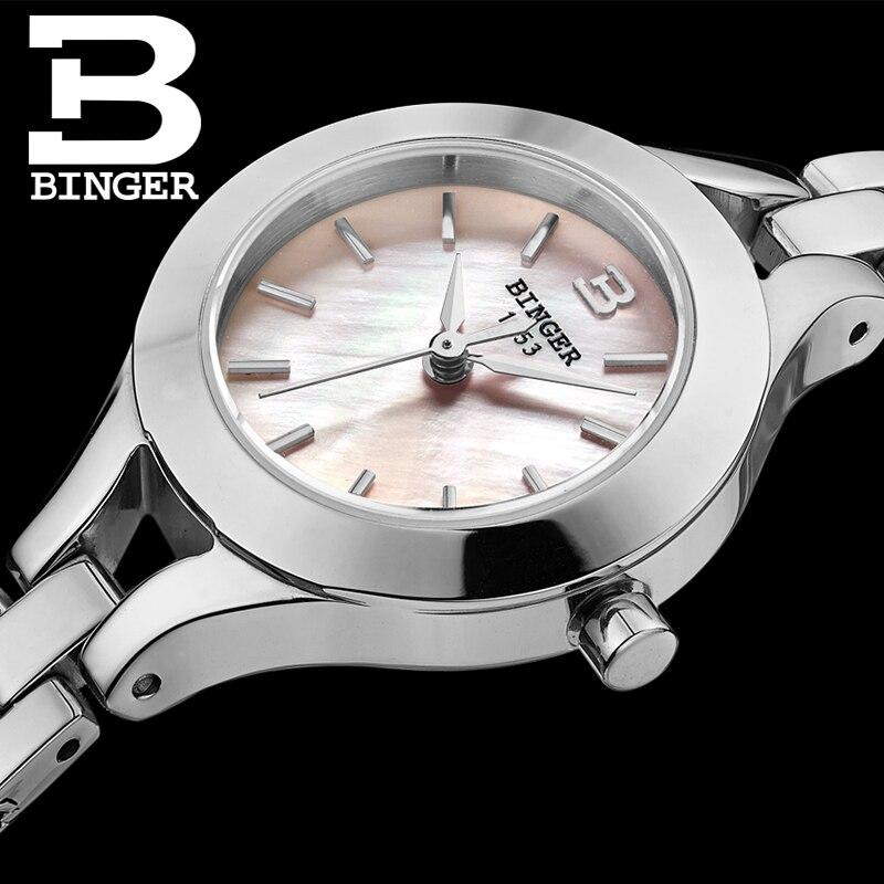 Switzerland Binger Women's watches fashion luxury clock quartz sapphire full stainless steel Wristwatches B3035-3 binger 100
