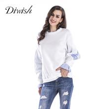 Diwish Patchwork Sweatshirt Women 2019 Newest Round Neck Long Sleeve Sweatshirts Loose Casual Pullovers
