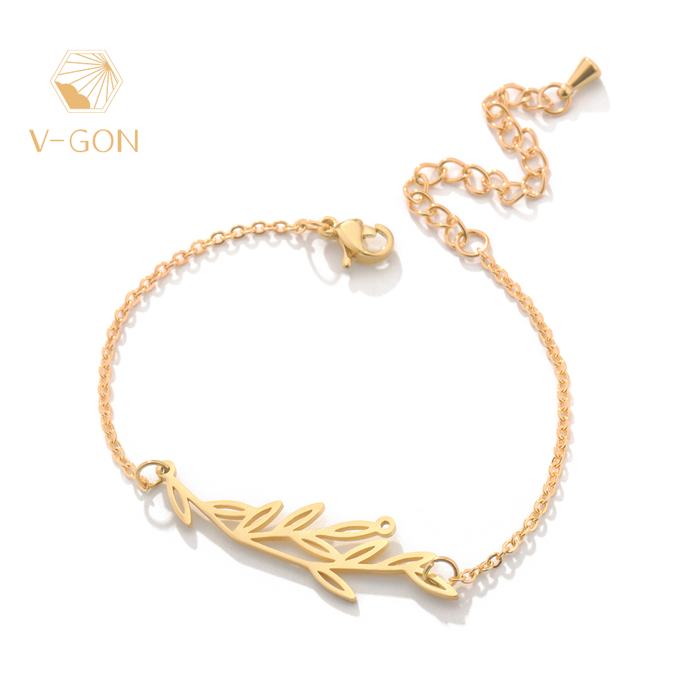 V-GON 14K Gold Plated Thin Bar Tree Charm Bracelet Adjustable Boho Handmade for Women Jewelry Party Gifts V-SL0003