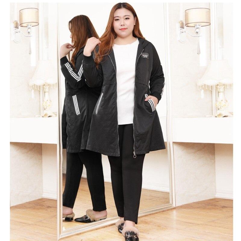 Kadın Giyim'ten Siper'de Artı boyutu 10XL 9XL 8XL 4XL kadın bahar uzun kollu kapüşonlu ceket kadın ince rahat uzun trençkot'da  Grup 3