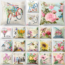 Hot sale flowers bikes birds  pillow cases square Pillow case cute cartoon rabbit elephant covers size 45*45cm