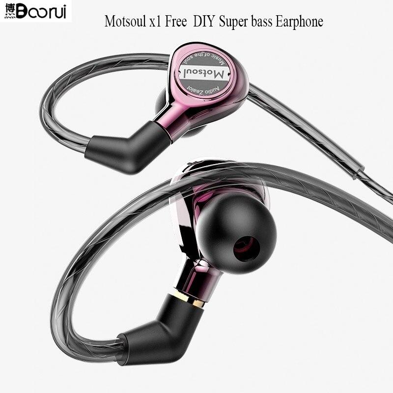 BOORUI Newest Motsoul Real x1 Dual Dynamic Driver Professional In Ear Sport Detach MMCX Earphone with