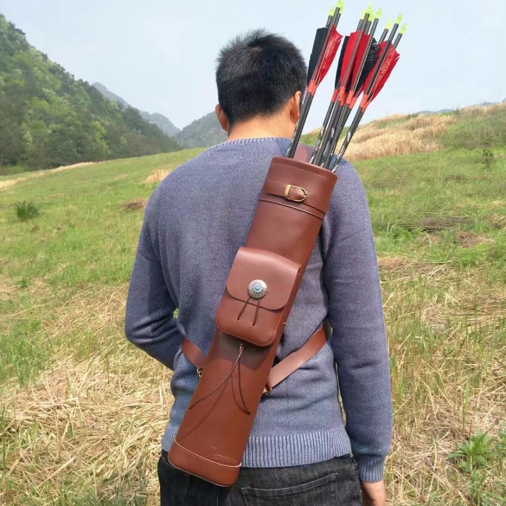 53*12cm Arrow Quiver Cow Leather Arrow Bag Brown Color for Archery Hunting Shooting dmar archery quiver recurve bow bag arrow holder black high class portable hunting achery accessories